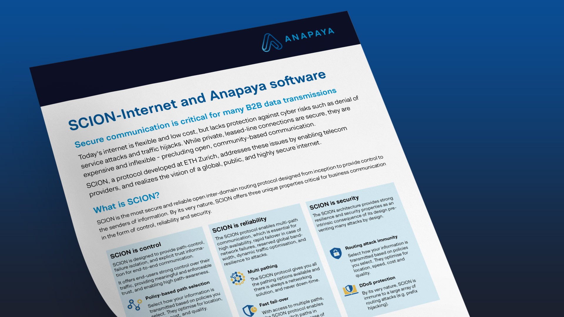 Anapaya Factsheet: SCION-Fabric and Anapaya Software